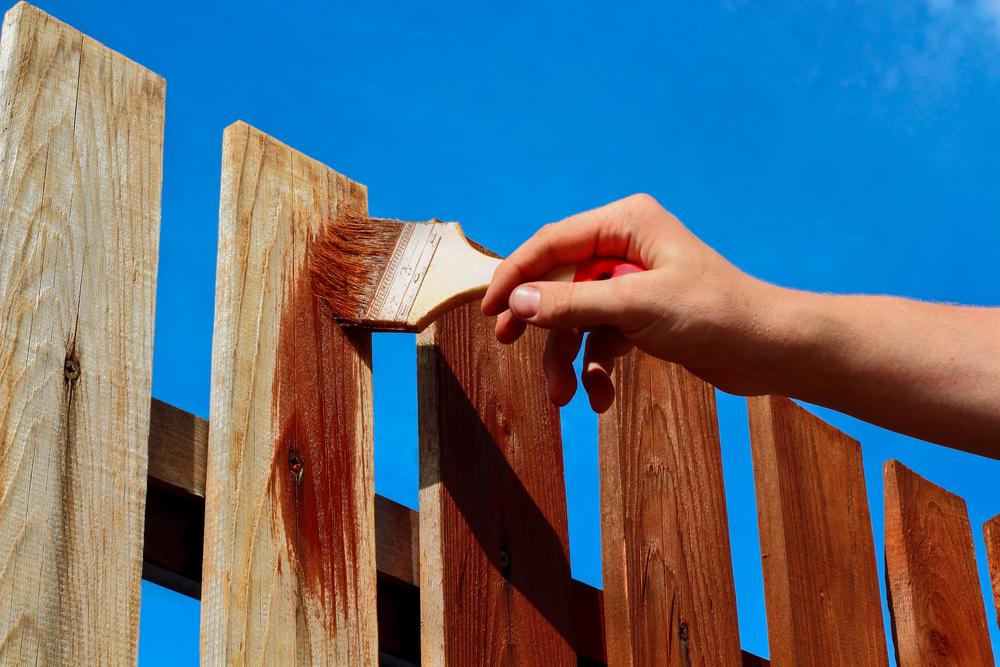 determining stain paint fence